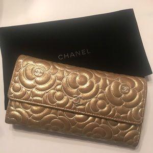 Chanel Lambskin Camellia Wallet